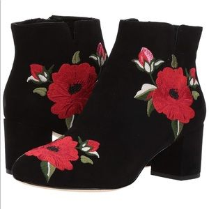 Kate Spade embroidered black bootie